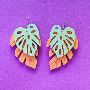 Tropic Like it's Hot Monstera Statement Dangles