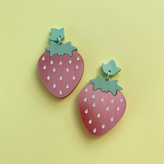Some Berry to Love Strawberry Statement Dangles