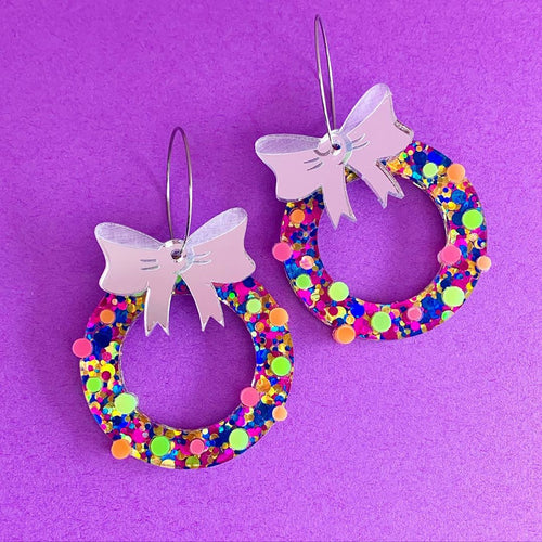 Get Lit Christmas Wreath Statement Dangles