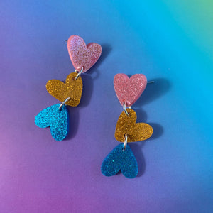 Falling in Love Glitter Heart Dangles
