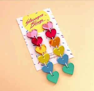 Rainbow Heart Waterfall Statement Dangles