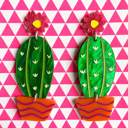 Prickly Pair Mega Cactus Statement Dangles