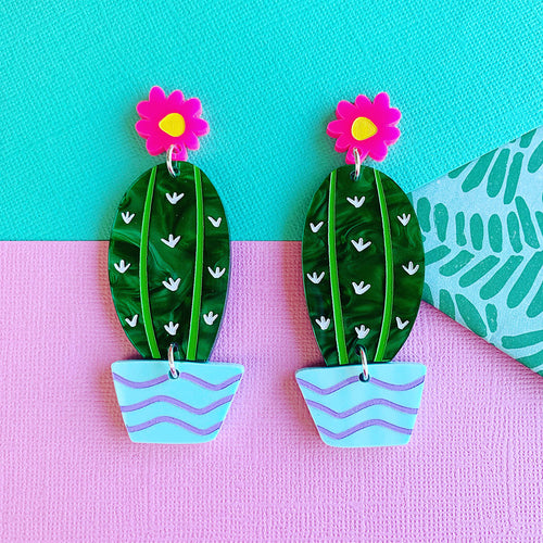 Prickly Pair Mega Cactus Statement Dangles  -CHOOSE YOUR COLOUR