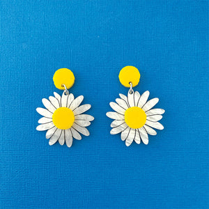 Paper Daisy Flower Statement Dangles