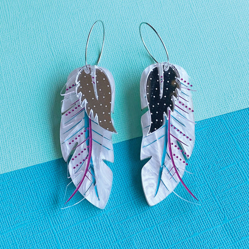 Free Spirit Feather Statement Hoop Dangles