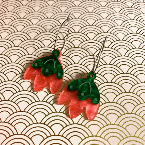 Strawberry Blossom Drop Hoop Dangles