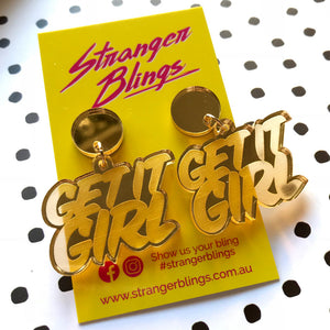 Get it Girl! Acrylic Statement Dangles (Gold)