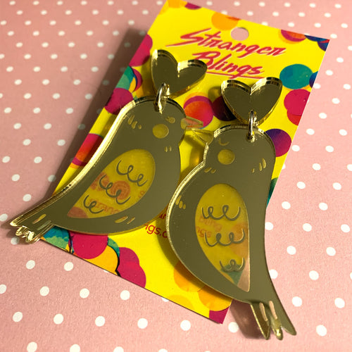 Perfect Match Gold Lovebird Acrylic Dangles
