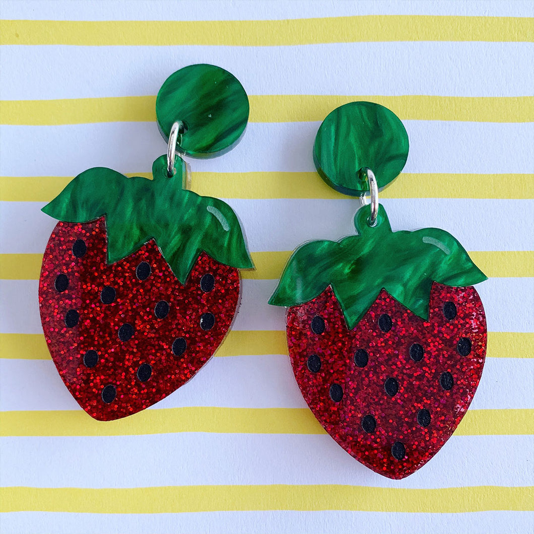 Berry Delicious Strawberry Statement Dangles