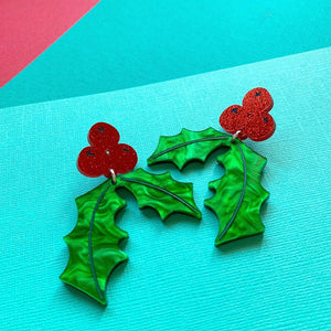 Deck the Halls! Holly Christmas Statement Dangles