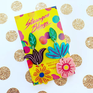 Spring Bling Petal Power Statement Dangles - choose your topper