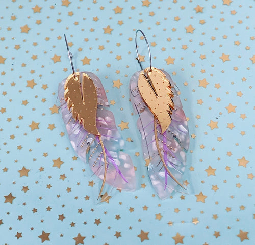 Butter Dreams - Feather Statement Hoop Dangles