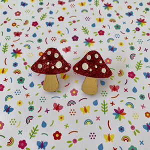Hand Painted Toadstool Studs