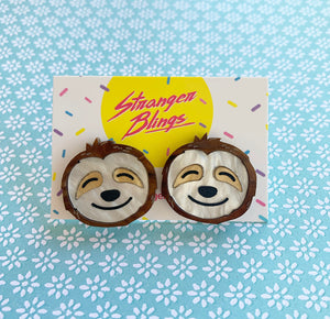 Hang in There Sloth Statement Studs