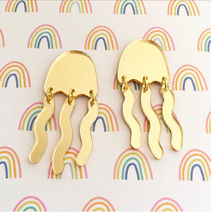 Gold Mirrored Jellyfish Dangles