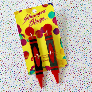 Scribbles Crayon Dangles - Red