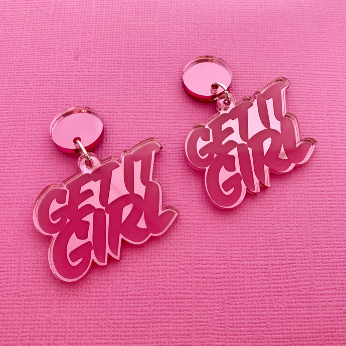 Get it Girl! Acrylic Statement Dangles (Pink)