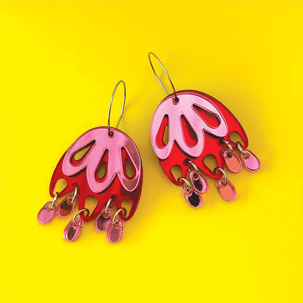 Jelly Jewel Statement Dangles - Red and Pink