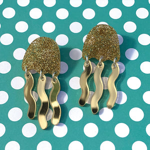 Gold Sparkly Mirrored Jellyfish Dangles