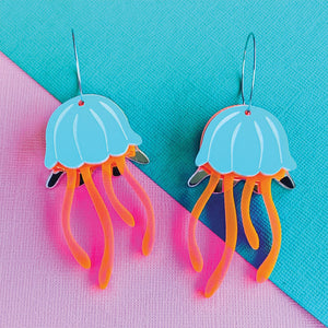 Electric Jellyfish Neon Statement Hoop Dangles