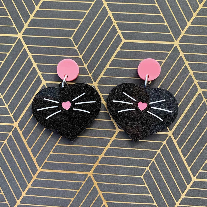 Love Kitty Dangles - Black Glitter