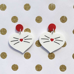 Love Kitty Dangles - Red Glitter