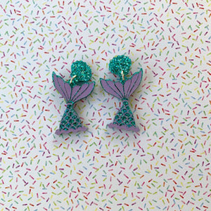 Pastel Glitter Mermaid Tail Dangles