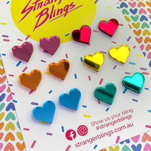 Rainbow Mirror Heart 6 Pack Stud Set