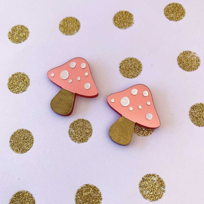 Pink Pearlescent Toadstool Studs
