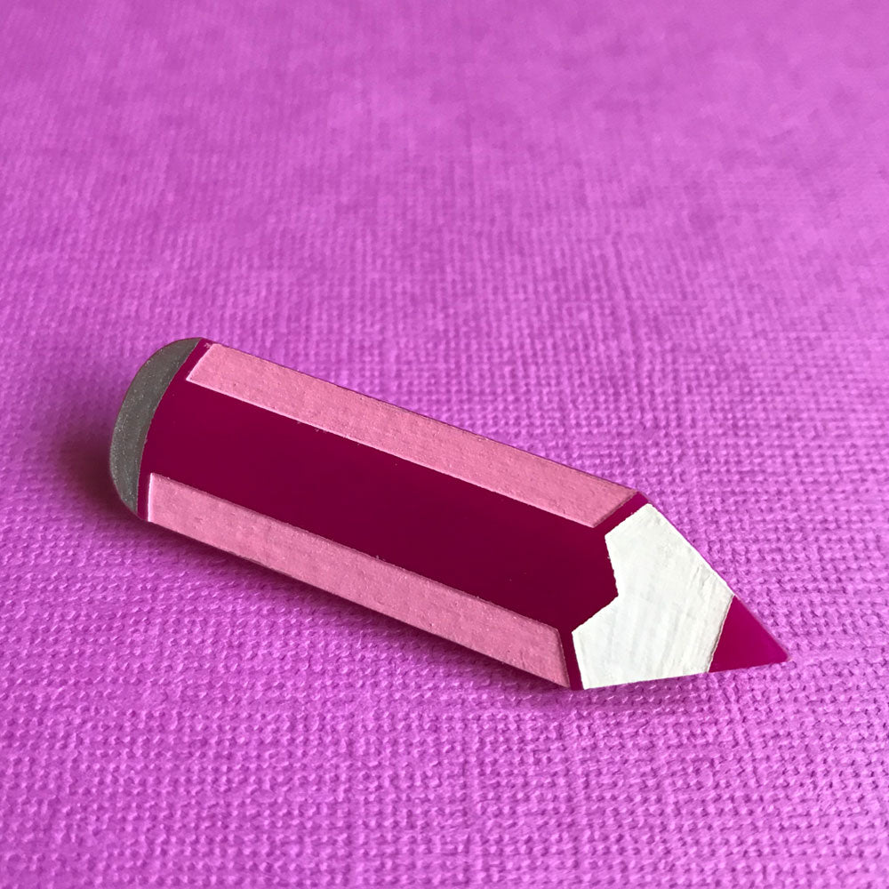 Looking Sharp! Acrylic Pink Pencil Brooch