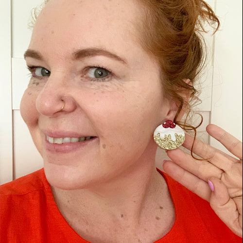 Christmas Lil' Pudding Statement Studs