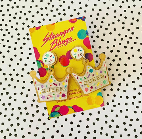Sprinkle Queen Cookie Crown Statement Dangles