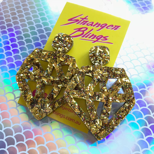 Rebel Diamond Mega Chunky Gold Glitter Statement Dangles