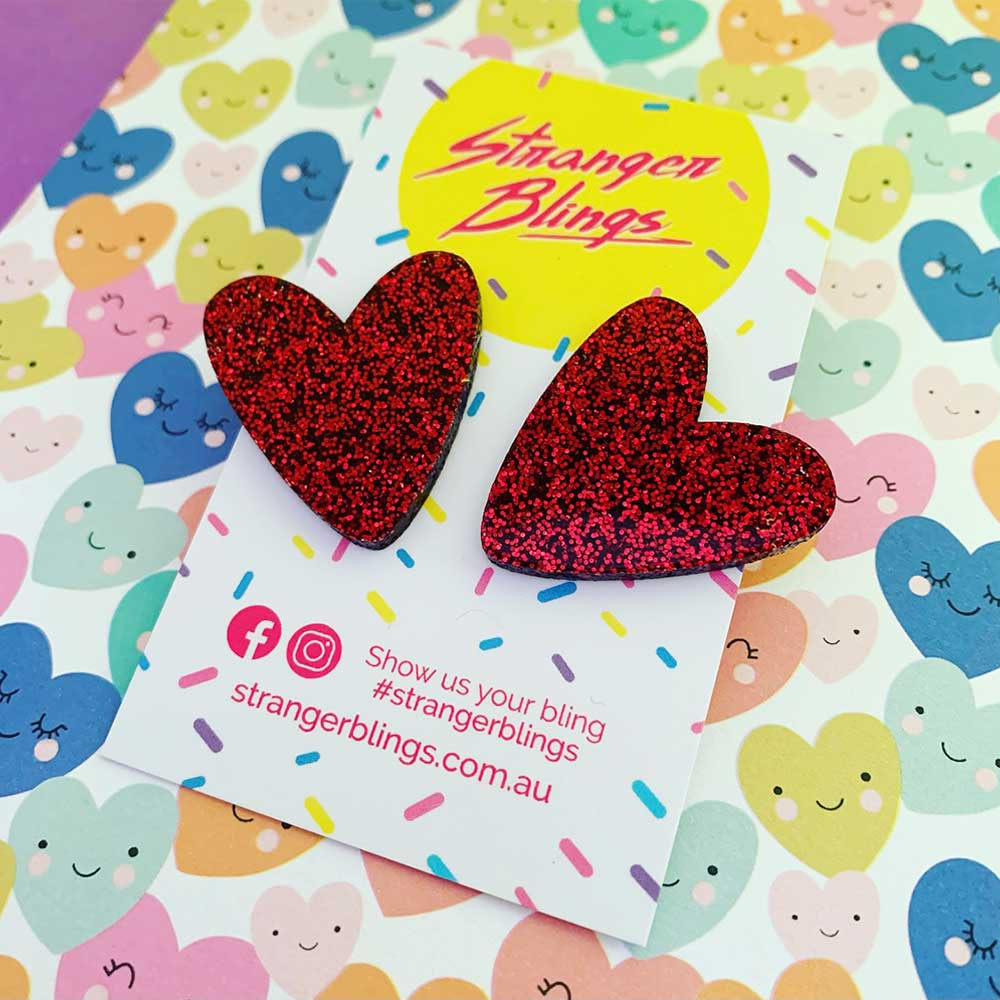 Big Love Mega Heart Studs - Red Glitter