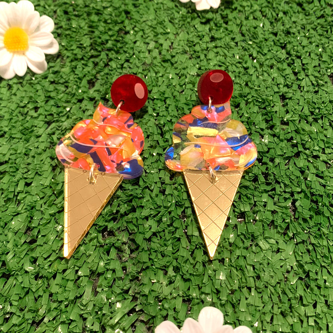 Ms Whippy Giant Ice Cream Acrylic Dangles - Tutti Frutti Unicone