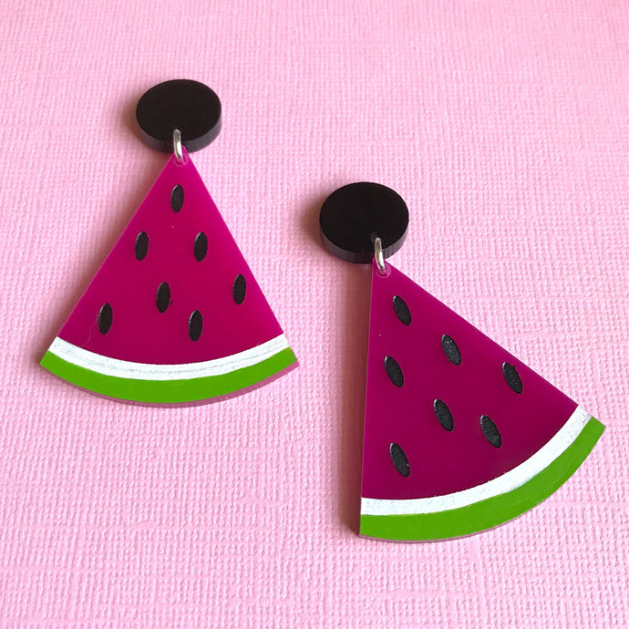 Watermelon Splice Hand Painted Dangles