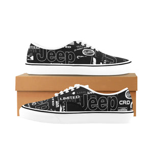 Custom black and white jeep shoes (10) Classic Women's Canvas Low Top Shoes (Model E001-4)
