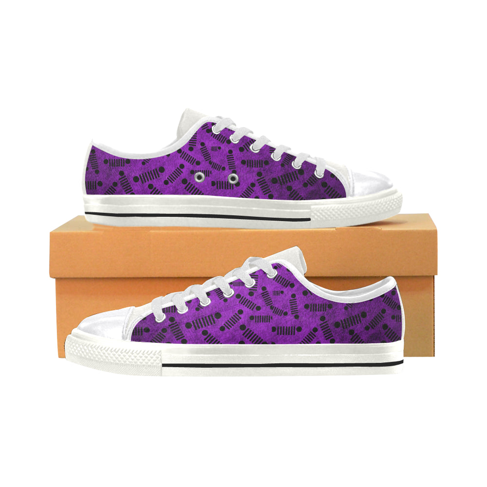 Fade purple jeep logo  Order a size up Women's Classic Canvas Shoes (Model 018).