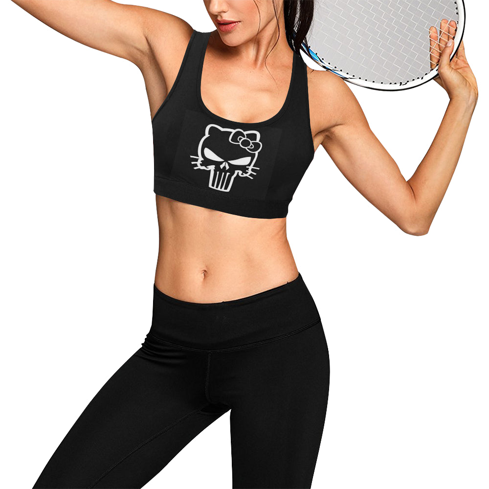 Black jeep hello kitty Women's All Over Print Sports Bra (Model T52)