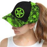 Green Skull Essentials All Over Print Snapback Hat D