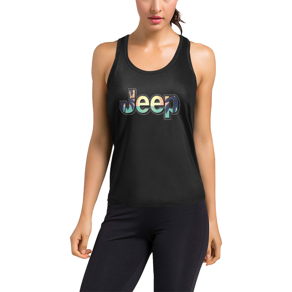 Sunny fla jeep beach Women's Racerback Tank Top (Model T60).