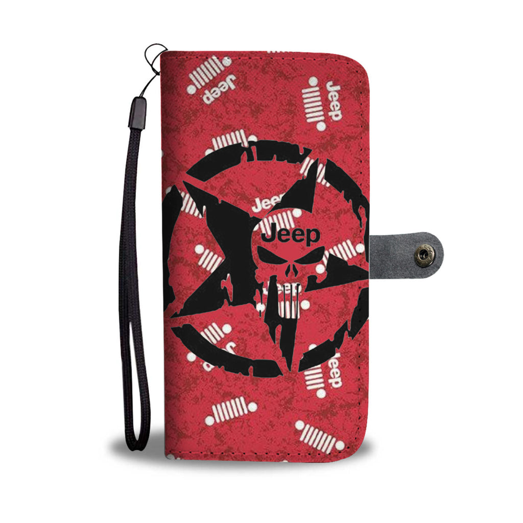 Jeep phone case for wrangler and cherokee red skull