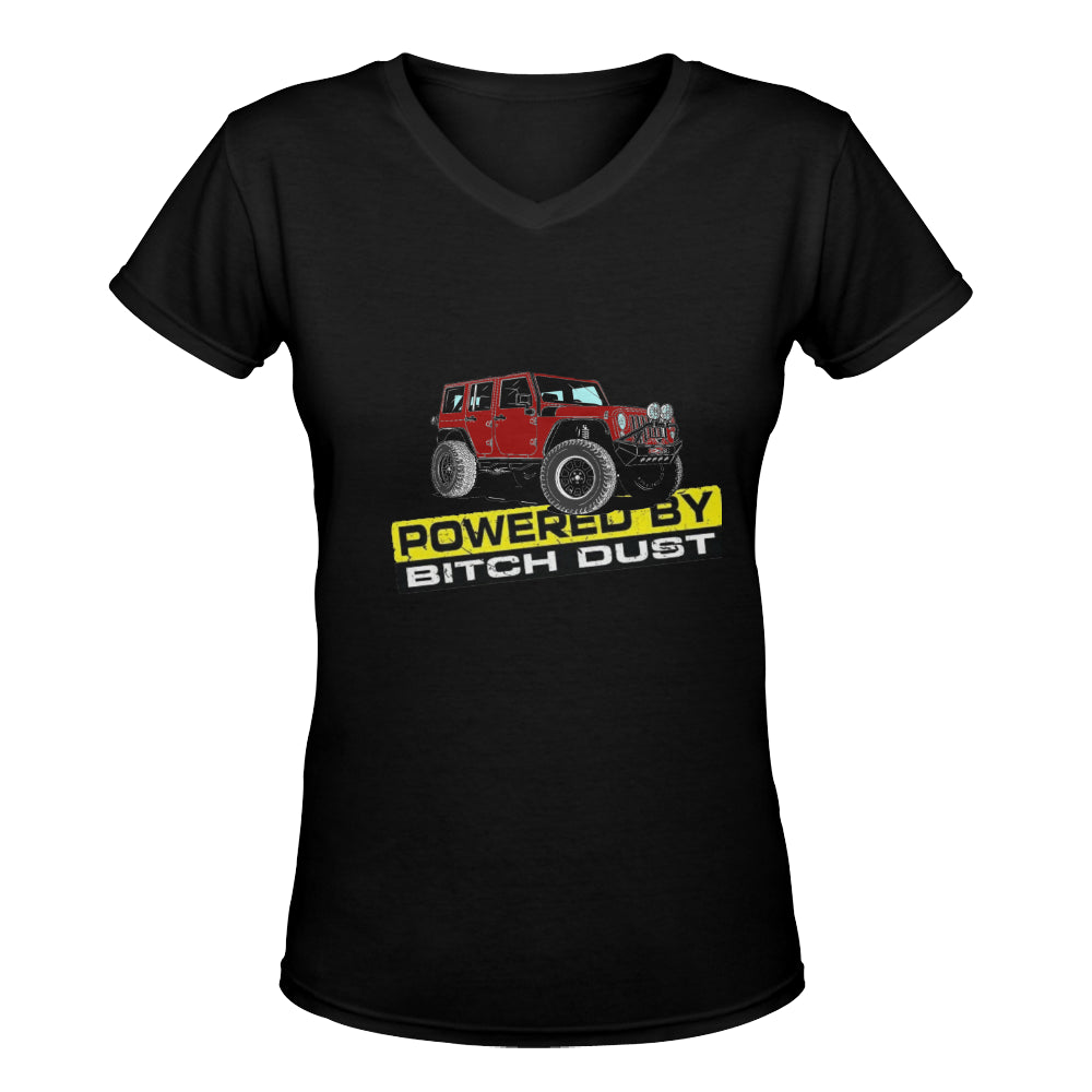 Red Dust jeep Women's Deep V-neck T-shirt (Model T19).