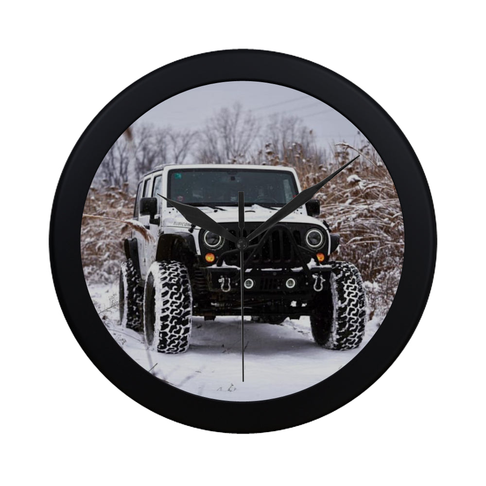 Snow jeep Circular Plastic Wall clock