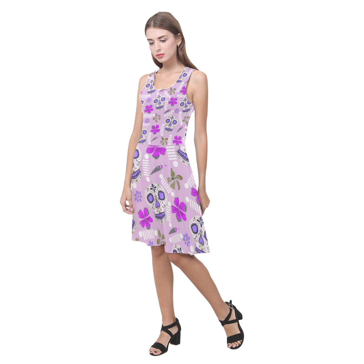 Jeep sugar skull sundress Atalanta Casual Sundress(Model D04)