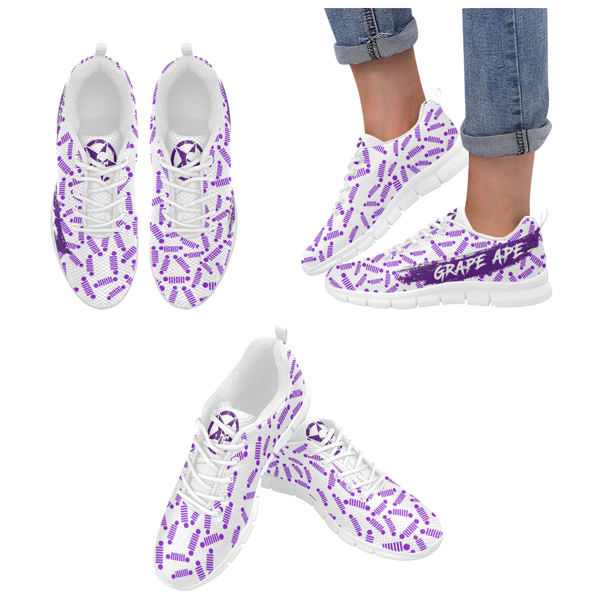 White and purple jeep logo order size up Women's Breathable Running Shoes (Model 055).