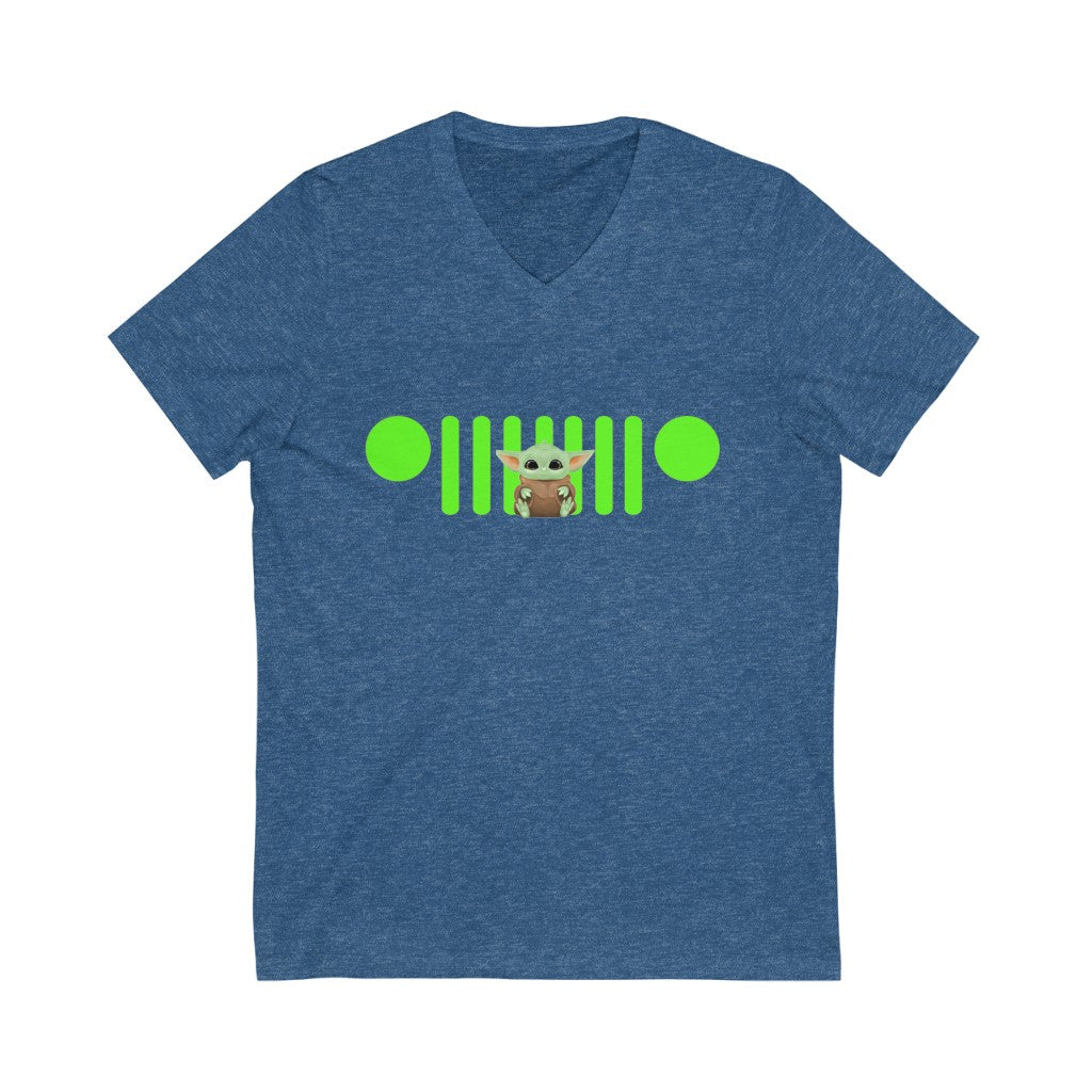 Yoda green jeep logo Unisex Jersey Short Sleeve V-Neck Tee