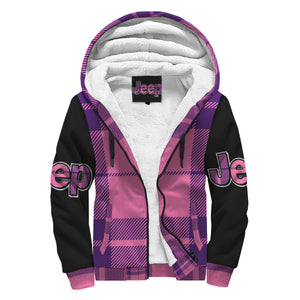 Pink and purple plaid jeep hoodie
