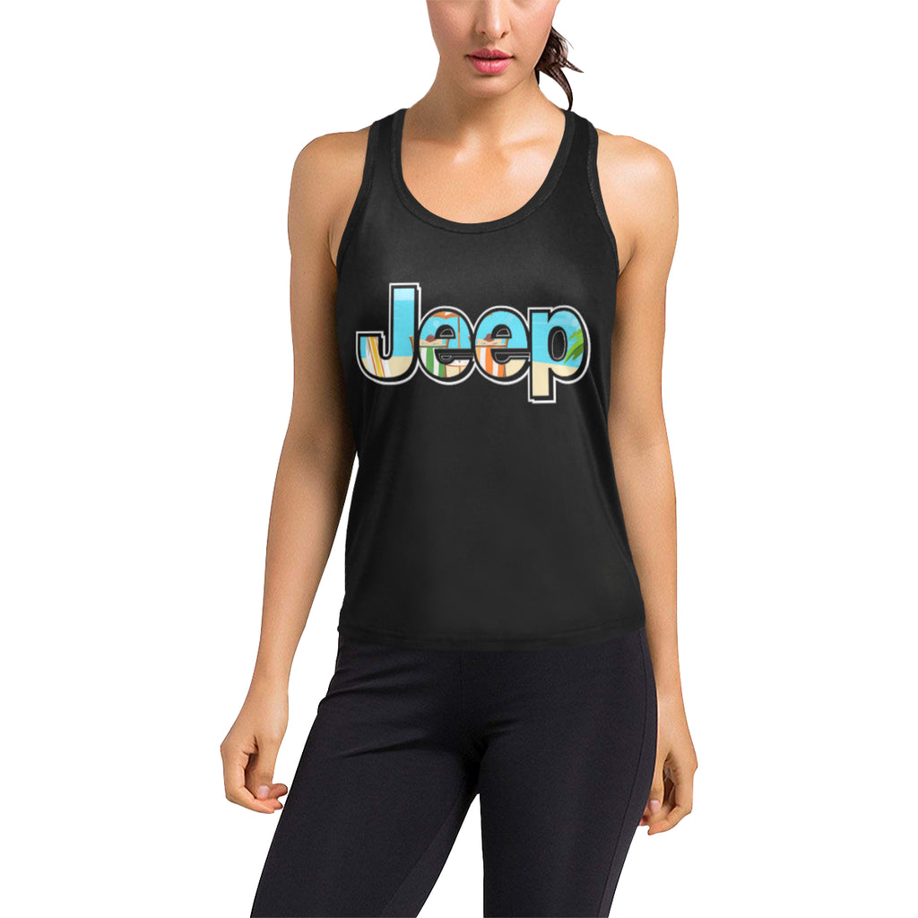 Relaxing at the beach jeep Women's Racerback Tank Top (Model T60).