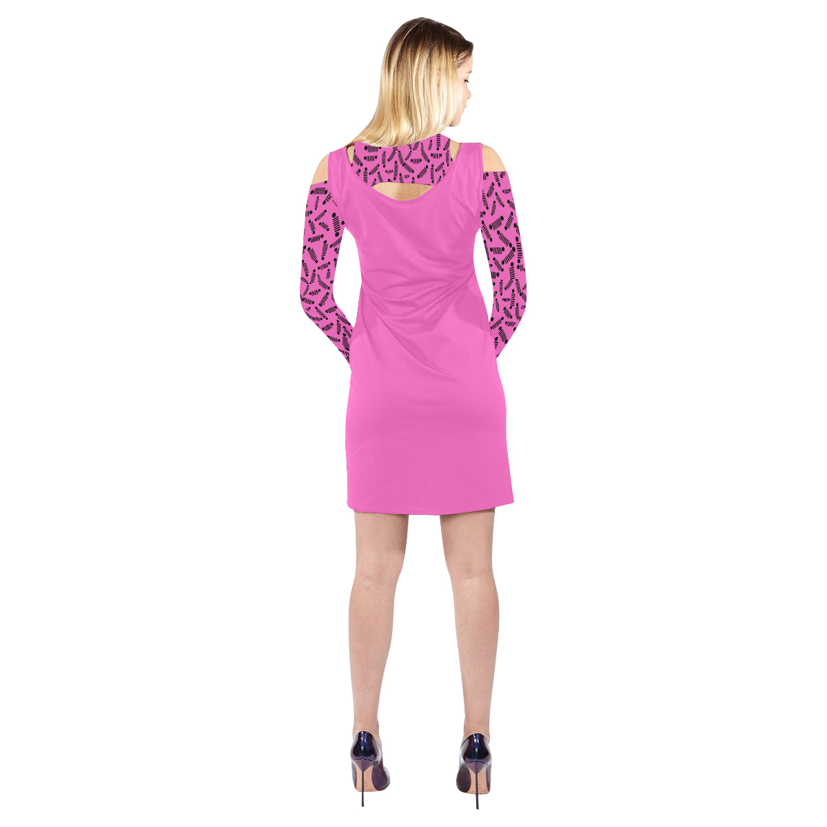 Pink jeep dress Cold Shoulder Long Sleeve Dress (Model D37)